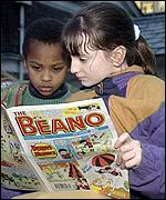 [ image: Children are reading The Sun rather than comics such as The Beano]