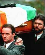[ image: Sinn Fein president Gerry Adams attended the funeral of bomber Thomas Begley]