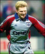 [ image: Effenberg celebrates after starting Bayern's goalfest from the spot]