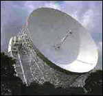 [ image: The Lovell telescope could detect a mobile telephone 220 million miles away]