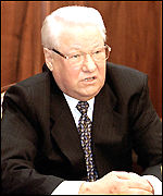 [ image: Mr Yeltsin: Very upset about the bombing]