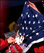 [ image: Protests: Serbs burnt the US flag outside Toronto embassy]