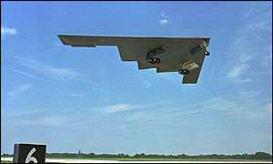 [ image: America sent its B-2 stealth bombers into combat for the first time.]