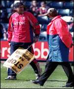 [ image: Crystal Palace's Yugoslav footballer Sasa Curcic protests against the Nato raids]