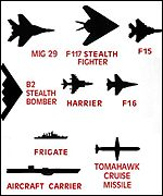 [ image: Silhouettes of weapons, aircraft and ships used in the Kosovo crisis]