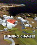 [ image: The debating chamber is at the centre of the plans]
