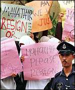 [ image: Anwar Ibrahim's trial has promted a wave of protests against Dr Mahathir]
