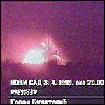 [ image: Serb TV showed footage of the bridge under attack]