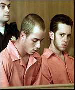 [ image: Russell Henderson (left) and Aaron McKinney - charged with first degree murder]