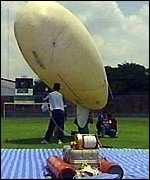 [ image: Researchers use a weather balloon to measure the temperature]