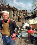 [ image: Rescuing possessions: A picture of Aleksinas from the Serb media]
