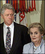 [ image: Ms Albright convinced the president that Milosevic would back down]