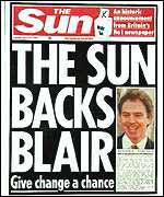[ image: Murdoch's popular paper came out in favour of Blair]