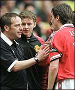 [ image: Keane argues with the linesman who ruled out his strike]