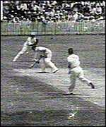 Bradman ducks a bouncer