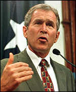 [ image: Hague has been influenced by Texas Governor Geoge W. Bush's 'caring conservatism']