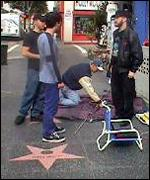 Setting up headquarters on Hollywood Blvd