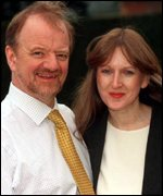 [ image: Robin Cook and his new wife tied the knot in the town's register office]