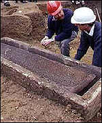 [ image: The coffin has been opened around 1,700 years after the woman's burial]
