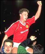 [ image: United's Mark Robins gets the Beckham treatment after the 1990 semi-final replay]