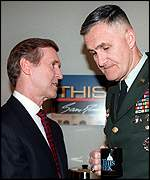 [ image: William Cohen and General Shelton said the strikes could last for months]