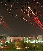 [ image: Nato bombing hit key Serb sites on Thursday night]