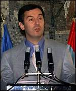 [ image: Milo Djukanovic: Under pressure from the Serbs]