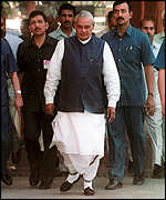 [ image: Defeated: Mr Vajpayee lost by one vote]
