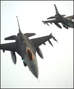 [ image: A large number of US F16s were in the area]