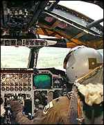 [ image: The controls of the B-52 feature old and new technology]