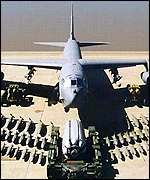 [ image: The B-52 can carry 70,000 pounds of weapons]