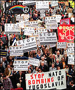 [ image: 11 April: 2,000 protest in London against the Nato strikes]