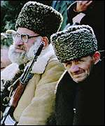 [ image: Dudayev supporters at a rally in 1994]