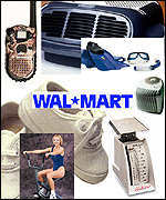 [ image: Wal-Mart offers a one-stop shopping experience, from groceries and clothing to hardware and work-out equipment]