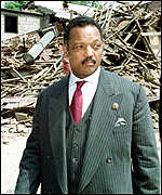 [ image: Reverend Jackson was shown the destruction of civilian buildings in Belgrade]
