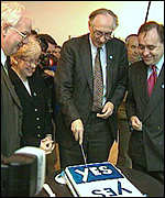 [ image: The Tories' opponents launched a Yes Yes campaign in 1997]