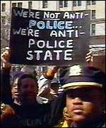 [ image: People also protested against the shooting of African immigrant Amadou Diallo]