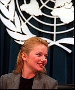 [ image: The cameras follow Halliwell at the United Nations]