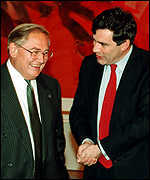 [ image: A man and his (inflation target) master: Eddie Geroge and Gordon Brown]