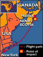 [ image: Flight 111 disappeared from radar screens off Nova Scotia]