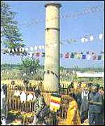 [ image: A pillar marking Buddha's birthplace: One of several isolated projects to commemorate the prophet]