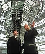 [ image: Germany's Parliamentary President Thierse shows off the new Reichstag dome]