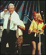 Boris Yeltin dancing on a stage
