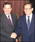 [ image: Mr Schr�der met the Chinese President Jiang Zemin]