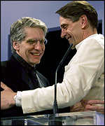 [ image: David Cronenberg with Jeremy Irons at the opening of the festival]
