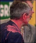 [ image: Foreign Minister and Green leader Joschka Fischer was hit by red paint]