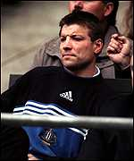 [ image: Newcastle's injured player-boss Rob Andrew watches from the stands]
