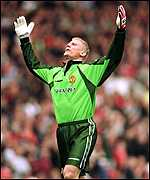 [ image: Peter Schmeichel signs off at Old Trafford in triumphant fashion]