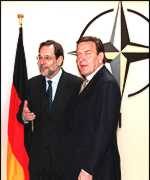 [ image: Nato's Secretary General Javier Solana with the German chancellor after talks]