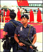 [ image: High security surrounded the arrival]